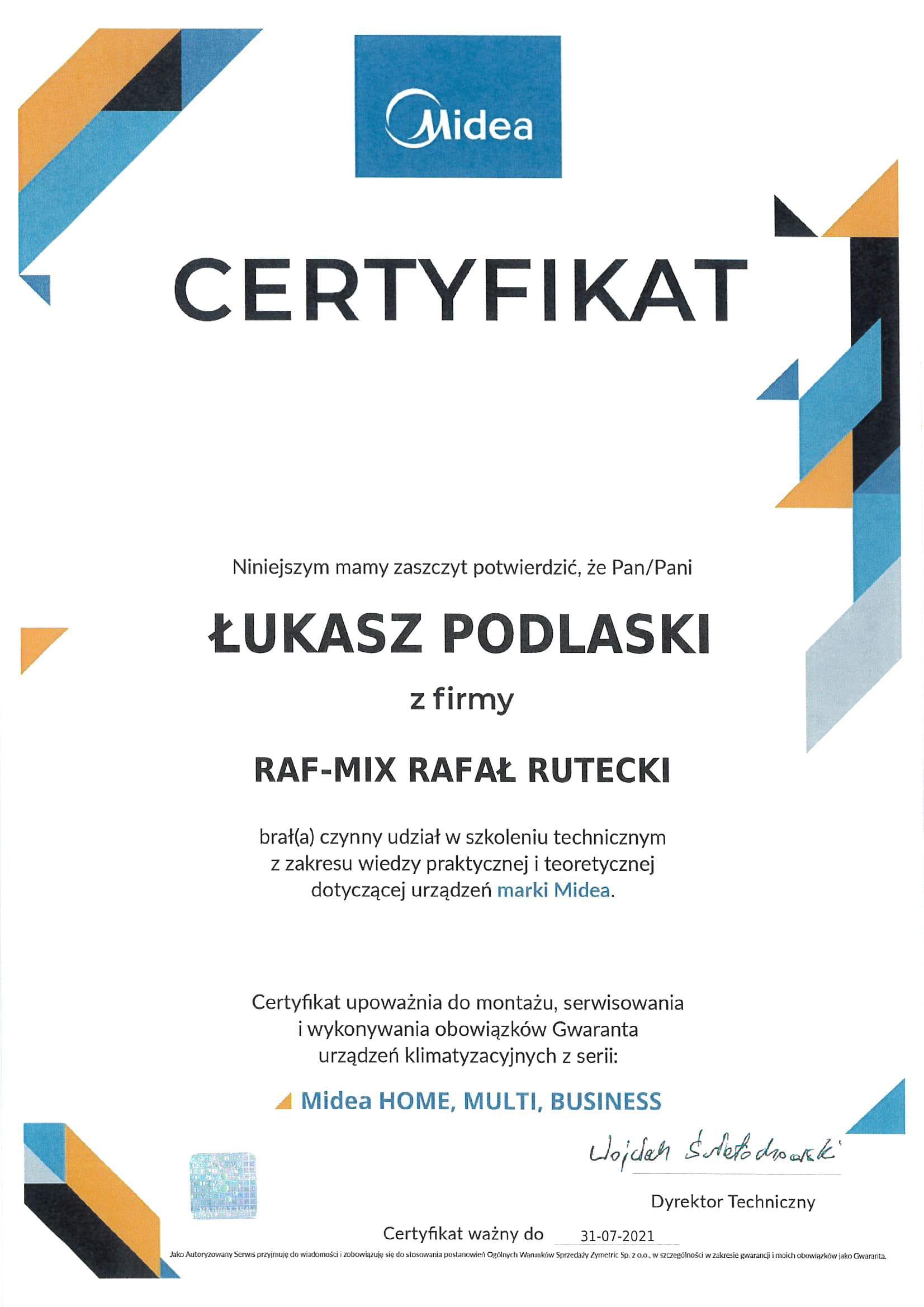 raf-mix o nas certyfikat